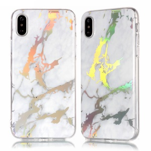 Marble Pattern Colorized Electroplated TPU Back Cover for iPhone XS / X 5.8 inch - White