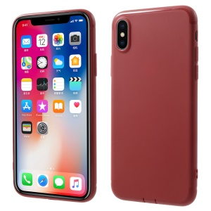 Matte TPU Phone Case with Anti-dust Plugs for iPhone XS / X 5.8 inch - Red