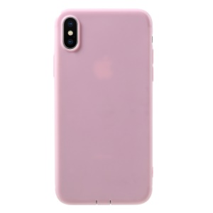 Matte TPU Gel Back Case with Anti-dust Plugs for iPhone XS / X 5.8 inch - Pink