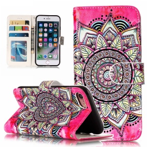 Embossed Pattern PU Leather Wallet Stand Protective Cover Shell for iPhone 8 / 7 4.7 inch - Mandala Flower