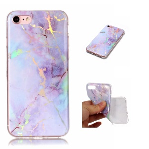 Marble Pattern Electroplated TPU Back Case for iPhone 8/7 - Purple