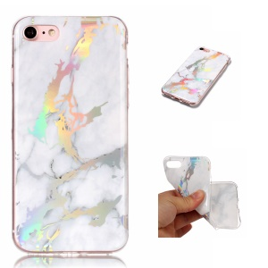 Marble Pattern Electroplated TPU Gel Back Cover for iPhone 8/7 - White