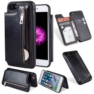 Multi-functional Zipper Wallet Kickstand Leather Coated TPU Back Case for iPhone 8 / 7 4.7-inch - Black