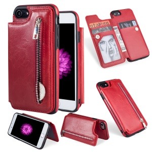 Multi-functional Zipper Wallet Kickstand Leather Coated TPU Gel Cover for iPhone 8 / 7 4.7-inch - Red