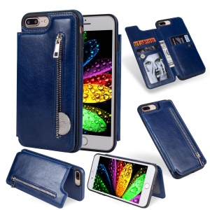 Multi-functional Zipper Wallet Leather Coated TPU Gel Case for iPhone 8 Plus / 7 Plus - Dark Blue