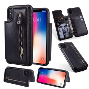 Multi-functional Zipper Wallet Kickstand Leather Coated TPU Back Cover for iPhone X/10 - Black