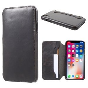 Vintage Genuine Leather Wallet Phone Case for iPhone X/10 - Black