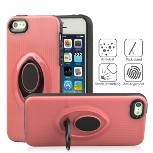 ANGIBABE Vertical Stripe Kickstand TPU PC Hybrid Phone Cover for iPhone SE / 5s / 5 - Pink