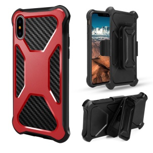 Carbon Fiber Texture PC + TPU Heavy Duty Kickstand Belt Clip Hybrid Mobile Cover for iPhone X - Red