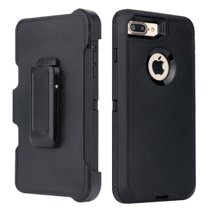 Rugged PC TPU Hybrid Kickstand Holster Phone Cover for iPhone 8 Plus / 7 Plus 5.5 inch - Black