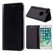 For iPhone 8/7 Plated Mirror Surface View Leather Cover with Stand - Black