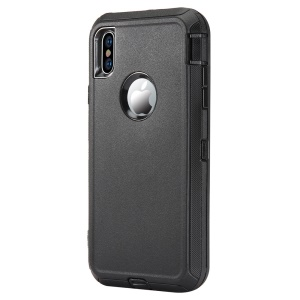 Plastic + TPE 3-piece Hybrid Shockproof Drop-proof Dust-proof Cover for iPhone XS/X 5.8-inch - Black