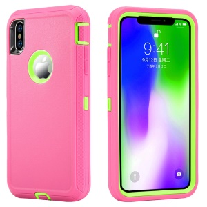 For iPhone XS/X 5.8 inch Plastic + TPE 3-piece Hybrid Shockproof Drop-proof Dust-proof Armor Case - Rose + Green