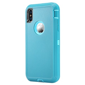Plastic + TPE 3-piece Hybrid Shockproof Drop-proof Dust-proof Rugged Cover for iPhone XS/X 5.8 inch - Light Blue