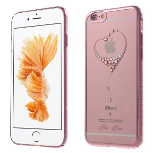 KINGXBAR Swarovski Rose Gold Plated PC Shell for iPhone 6s Plus / 6 Plus - Heart Pattern