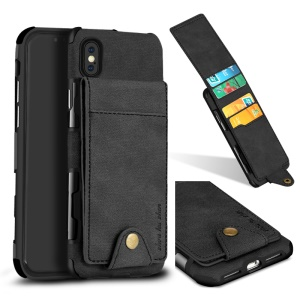 SHOUHUSHEN PU Leather Coated Vertical Flip PC TPU Hybrid Case with Card Slots for iPhone X - Black