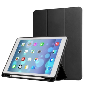 Napa Grain PU Leather Tri-fold Stand Smart Cover with Pen Slot for iPad Pro 10.5-inch (2017) - Black