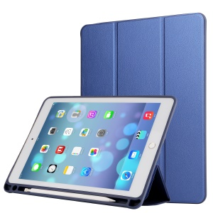 For iPad Pro 12.9 (2017) Napa Grain PU Leather Tri-fold Stand Smart Cover with Pen Slot - Blue