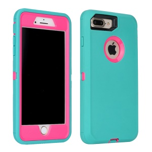 Plastic + TPU Shockproof Drop-proof Dust-proof Armor Shell for iPhone 8 Plus/7 Plus - Rose + Cyan