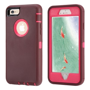 Shockproof Drop-proof Dust-proof Plastic + TPU Protection Shell for iPhone 6s/6 - Wine Red + Rose
