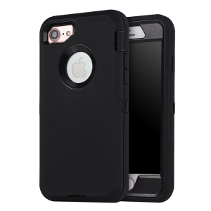 Shockproof Drop-proof Dust-proof Plastic + TPU Combo Mobile Phone Case for iPhone 8/7 - All Black