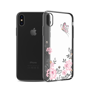 KAVARO Authorized Swarovski Diamond Flowers Butterflies Plated PC Case for iPhone X - Black