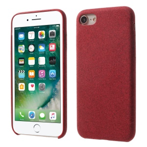 Cloth Texture PU Leather Coated PC Hard Case for iPhone 8 / 7 - Red