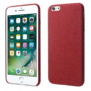 Linen Cloth Texture PU Leather Coated PC Cell Phone Cover for iPhone 6s Plus / 6 Plus - Red