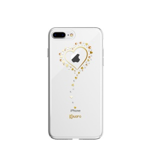 KAVARO Authorized Swarovski Heart to Heart Series Crystal 001 + Silk 391 + Light Peach 362 Rhinestone Decor Plated PC Cover for iPhone 8 Plus / 7 Plus 5.5 inch - Gold