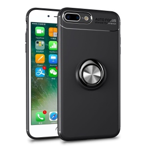 Magnetic Finger Ring Kickstand TPU Case for iPhone 8 Plus/7 Plus - Black + Grey