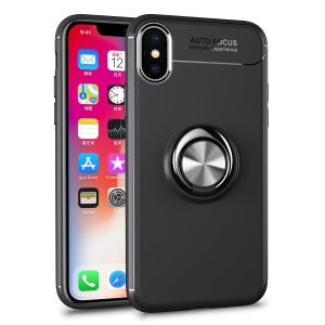 Magnetic Finger Ring Kickstand TPU Cell Phone Case for iPhone XS / X 5.8 inch - Black + Grey