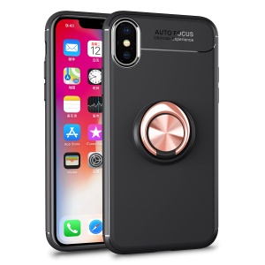 Magnetic Finger Ring Kickstand TPU Mobile Phone Shell for iPhone XS / X 5.8 inch - Black + Rose Gold