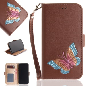 Hand Painted Imprint Butterfly Leather Wallet Mobile Phone Case for iPhone X - Brown