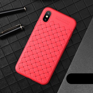 USAMS Woven Texture Heat Dissipation TPU Phone Cover for iPhone XS / X 5.8 inch - Red