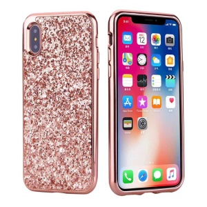 Detachable 2-in-1 Glittery Sequins PC Back + Electroplating PC Edge Casing for iPhone X - Rose Gold