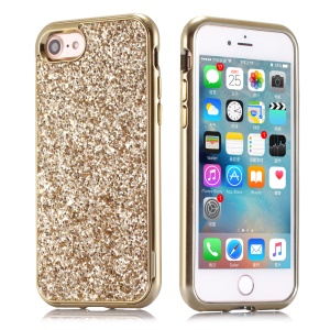 Glittery Sequins Coated Electroplating Hard Shell Case for iPhone 8/7 - Gold