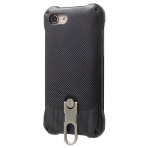 G-CASE Armor Series Carbon Fiber Texture Kickstand PC + Silicone Hybrid Case for iPhone 8 / 7 - Black