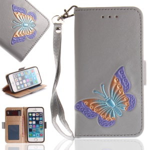 Butterfly Pattern Leather Wallet Case for iPhone SE/5s/5 - Grey