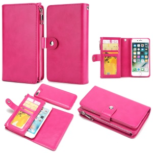 Detachable 2-in-1 Double Side Pockets Leather Zipper Wallet Cover for iPhone 8 Plus / 7 Plus - Rose