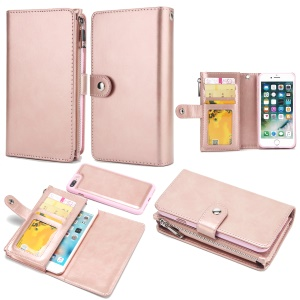 Detachable 2-in-1 Double Side Pockets Leather Zipper Wallet Phone Casing for iPhone 8 Plus / 7 Plus - Rose Gold
