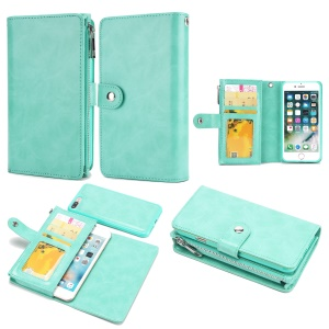 Detachable 2-in-1 Double Side Pockets Leather Zipper Wallet Cell Phone Case for iPhone 8 Plus / 7 Plus - Cyan