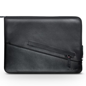 QIALINO Anti-shock Genuine Leather Zipper Case Bag for iPad Pro 12.9 (2017)/12.9 inch (2015) - Black