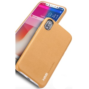 X-LEVEL Bamboo Series PU Leather Coated PC Mobile Shell for iPhone X - Brown