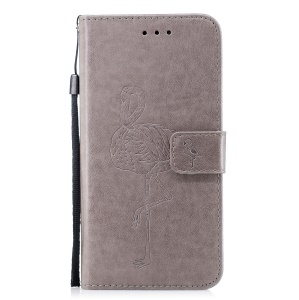Imprinted Flamingo Pattern Leather Magnetic Case with Strap for iPhone 6s Plus / 6 Plus - Grey