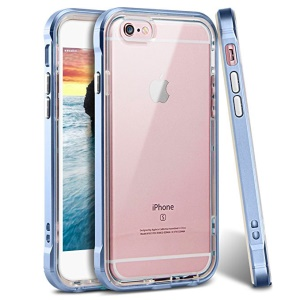 Impact-resistant Clear TPU + PC Frame Hybrid Mobile Phone Shell for iPhone 8/7 4.7 inch - Dark Blue
