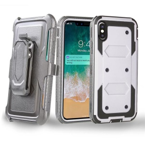 2-in-1 Heavy Duty PC + TPU Belt Clip Kickstand Protection Case for iPhone XS/X 5.8 inch - White