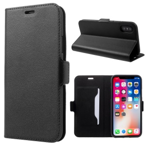 DOORMOON Genuine Leather Card Holder Stand Case for iPhone X/XS 5.8 inch - Black