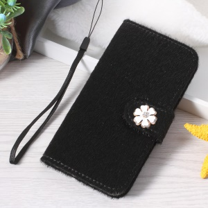 Rhinestone Decoration Fur PU Leather Wallet Phone Cover for iPhone 8 Plus / 7 Plus 5.5 inch - Black