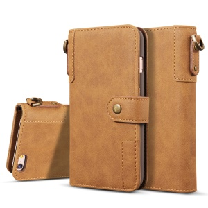 Retro Style Split Leather Wallet Stand Phone Flip Mobile Phone Case with Strap for iPhone 8/7 4.7 inch - Brown