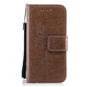 Imprint Flamingo Pattern Wallet Stand Leather Mobile Casing for iPhone SE / 5s / 5 - Brown
